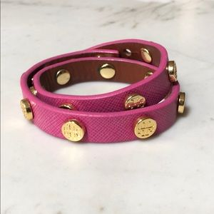 Tory Burch Pink Leather Double Wrap Bracelet